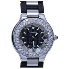 Cartier C90M Automatic Wristwatch with Diamond Studded Bezel