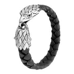 John Hardy Men's Legends Eagle Silver Eagle Head Bracelet on Braided Black