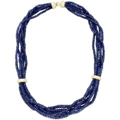 Beaded Blue Sapphire and Diamond Multi-Strand 18 Karat Necklace