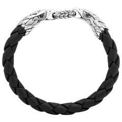 John Hardy Men's Legends Eagle Silver Double Head Bracelet on Woven Black