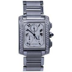 Cartier Diamond Studded Wristwatch with Chronograph