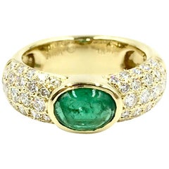 Jean Vitau 18 Karat Oval Emerald and Diamond Wide Ring