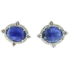 18 Karat White Gold Sapphire and Diamond Earrings