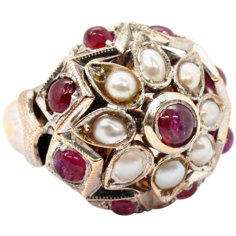Vintage 14 Karat White Gold, Pearl and Ruby Fashion Ring