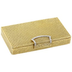 Van Cleef & Arpels Gold Vintage Yellow Makeup Compact with Diamonds