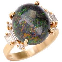 1980s GIA Certified Opal Diamond Yellow Gold Ring