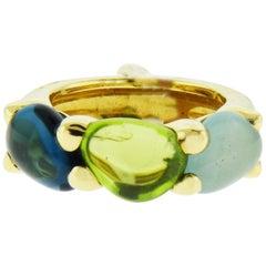 Pomellato 18 Karat Yellow Gold Multi-Color Stone Ring, Small