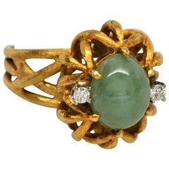 Jadite Cabochon 18 Karat Brushed Yellow Gold Ring with Diamonds