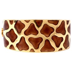 Roberto Coin Giraffe Yellow Gold and Enamel Wide Bangle Bracelet