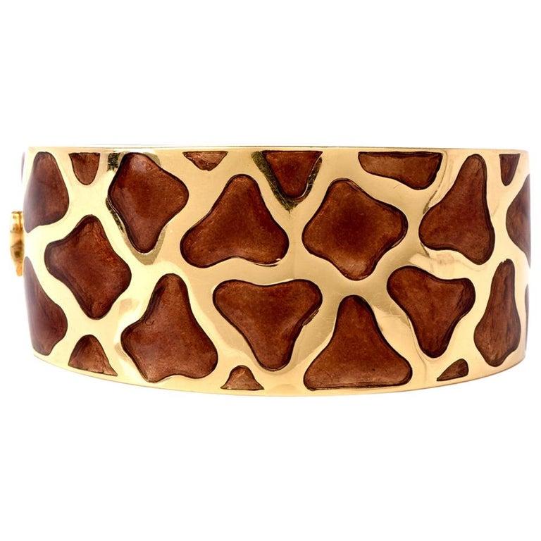 Roberto Coin Giraffe Yellow Gold and Enamel Wide Bangle Bracelet