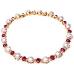 Diamond Ruby Pearl 18 Karat Yellow Gold Choker Necklace