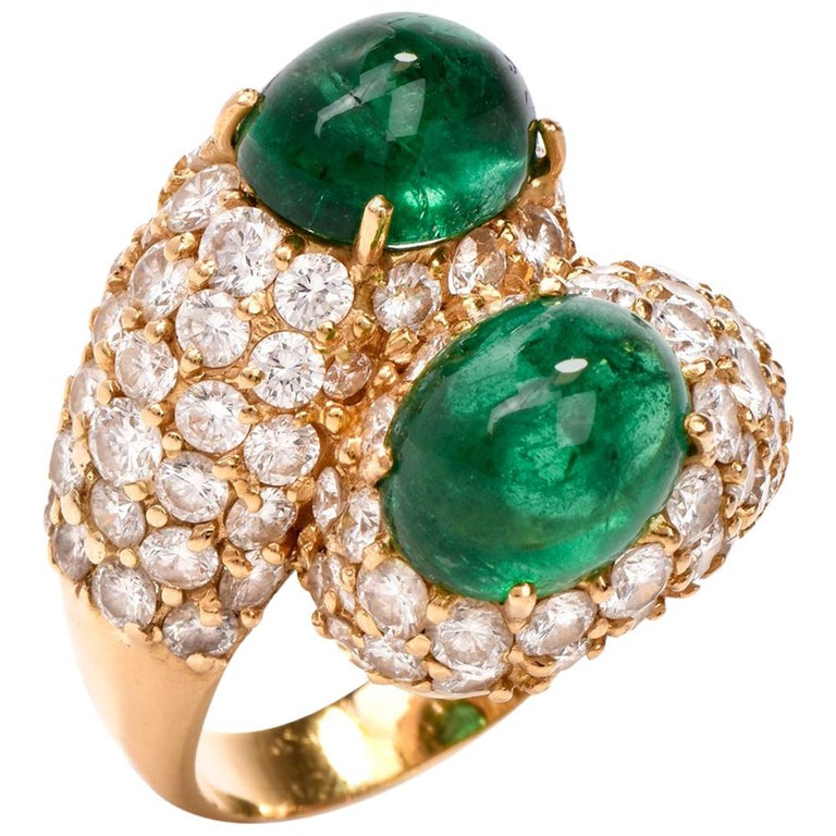 1970s Emerald Cabochon Pave Diamond Bypass Cocktail Ring