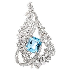 Fine Blue Aquamarine Diamond Lapel Pin Brooch