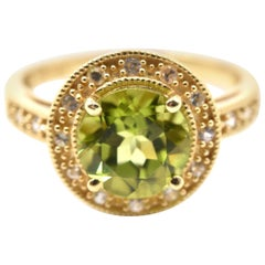 2.10 Carat Peridot and White Sapphire 14 Karat Yellow Gold Ring