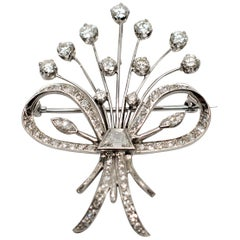 Bouquet of Diamonds 18 Karat White Gold Brooch Pin Pendant