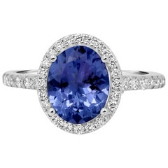 Tanzanite Oval Diamond Halo Gold Classic Ring