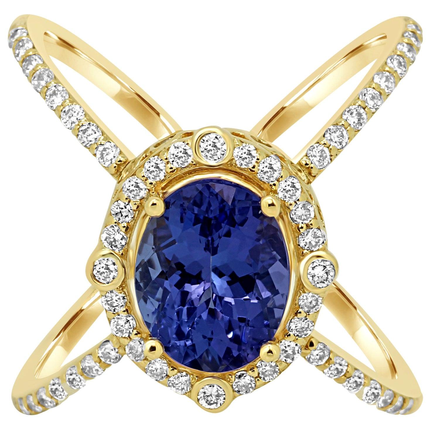 Tanzanite Oval Diamond Halo Gold Fashion Cocktail Ring