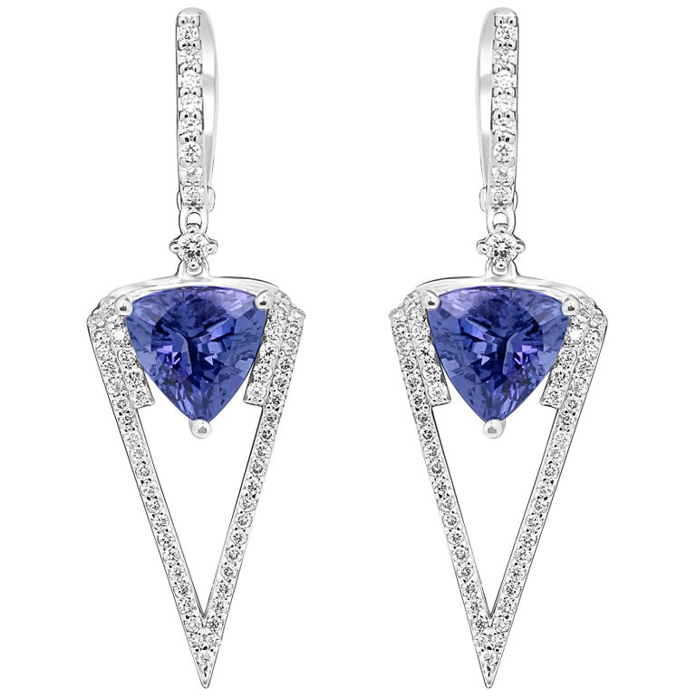 Tanazanite Trillion Diamond White Gold Dangle Earring