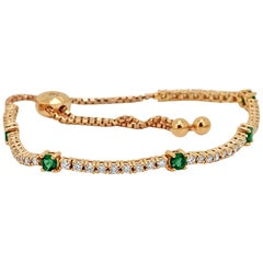 Emerald Diamond Rose Gold Bolo Bracelet