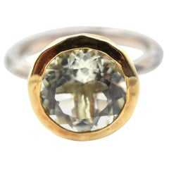 Green Amethyst 18 Karat Yellow Gold and Sterling Silver Fashion Ring