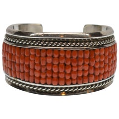 Dan Jackson Sterling Silver Natural Coral Cuff Bracelet