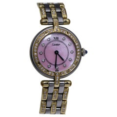 Cartier Ladies Watch with Pink Oyster Face and Diamond Studded Bezel/Band