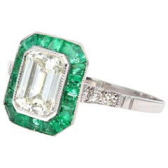 1.02 Carat Diamond Emerald Halo Platinum Engagement Ring