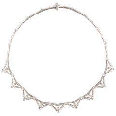 Tiffany & Co. 5.00 Carat Diamond and Pearl Platinum Necklace