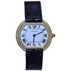 Cartier Women's Wristwatch with Diamond Studded Bezel