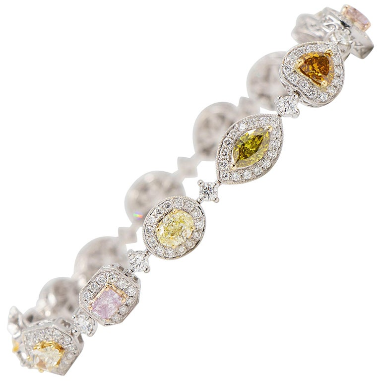 12 Carat Natural Fancy Colored Diamond Bracelet - 18k White Gold - GIA Certified