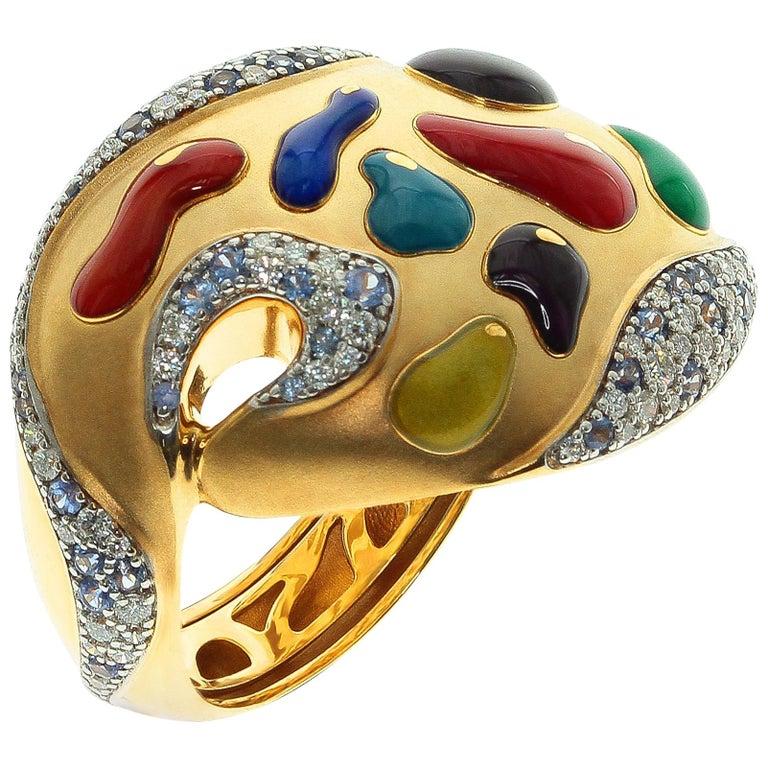 Diamond Sapphire Enamel 18 Karat Yellow Gold Palette Ring For Sale