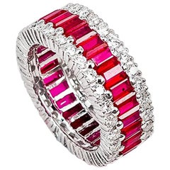 18k white gold Eternity Ruby and diamond Ring