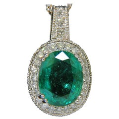 7.15 Carat Natural Emerald Diamond Pendant and Diamond by Yard Chain