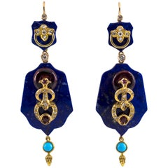 White Diamond Ruby Amethyst Turquoise Lapis Yellow Gold Lever-Back Earrings