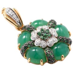 Pendant with Chrysophrase and Diamonds, 18 Karat Gold