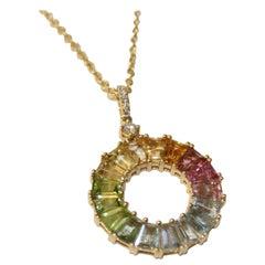 Kiki McDonough 18 Carat Yellow Gold Multi-Stone Rainbow Pendant