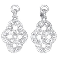 Cartier 18 Karat White Gold Paris Nouvelle Vague Diamond Earrings