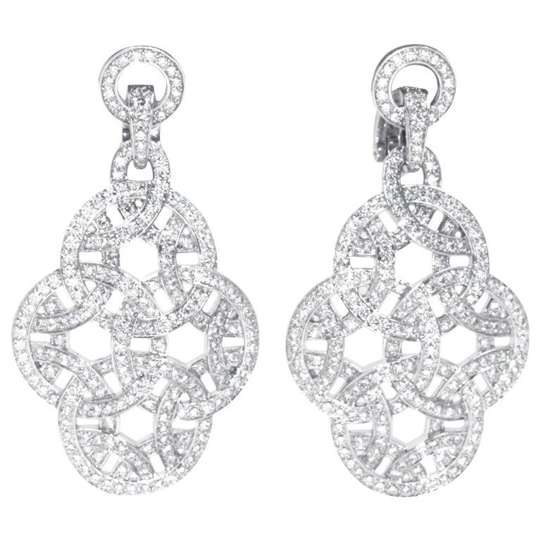 Cartier 18 Karat White Gold Paris Nouvelle Vague Diamond Earrings