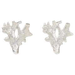 Silver Branch Cast Coral Stud Earrings
