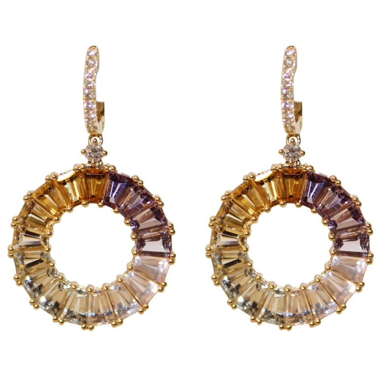 Kiki Mcdonough 18 Carat Yellow Gold Multi Stone Earrings For