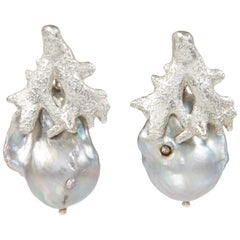 Sterling Silver Earrings with a Grey Freshwater Pearl and Diamond