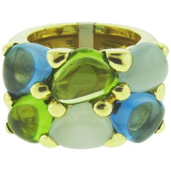 Pomellato 18 Karat Yellow Gold Peridot Topaz and Aquamarine Ring