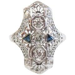 Art Deco Filigree Ring with Diamonds and Sapphires, 18 Karat White Gold