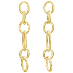 18 Karat Yellow Gold Link Drop Earrings