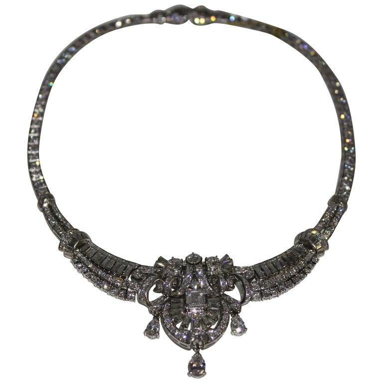 Art Deco Platinum and Diamond Necklace, circa 1935