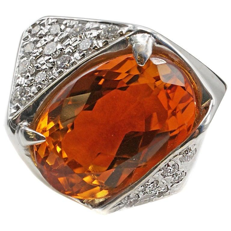 1970s Golden Orange Citrine Diamond White Gold Ring