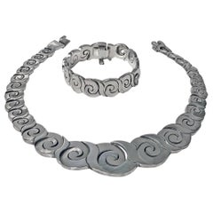 1970s Mexican Sterling Necklace and Bracelet