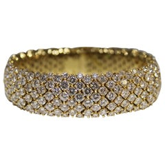 Vintage 18 Karat Yellow Gold Five-Row Diamond Mesh Bracelet