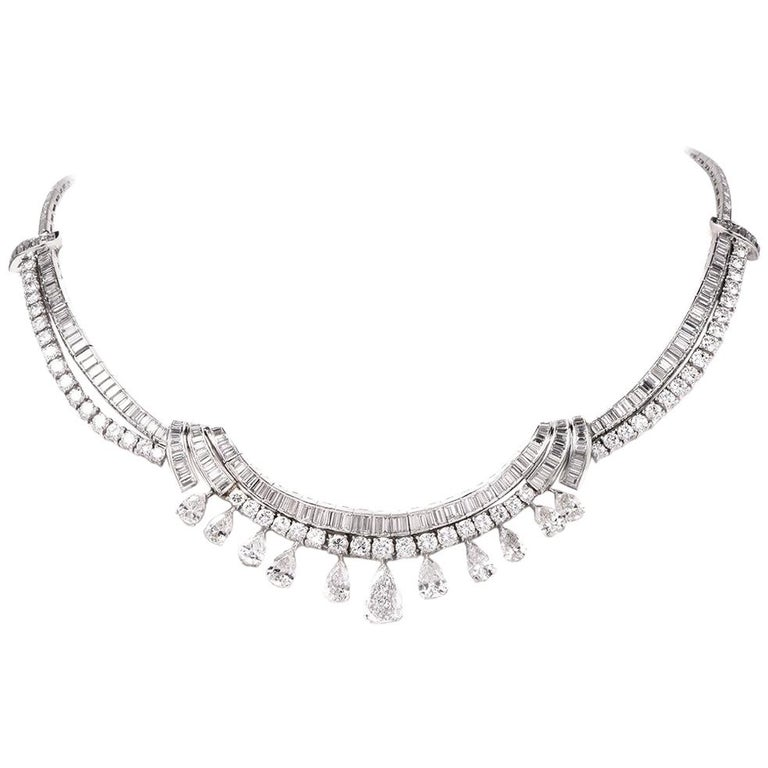 1960s Pears and Baguettes Diamond Platinum Chocker Necklace