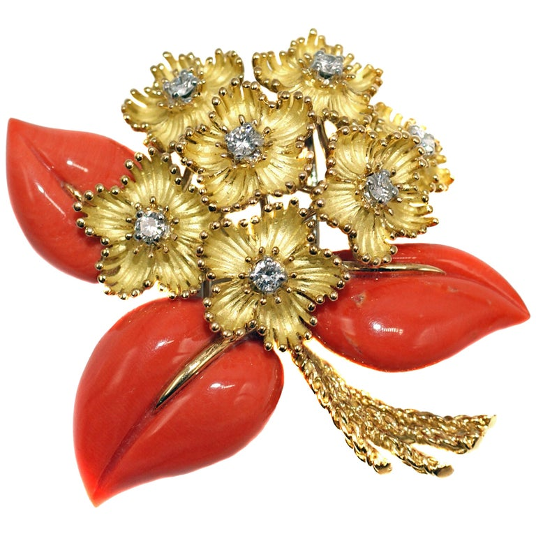 1960s cartier emerald ruby gold flower brooch at 1stdibs cartier france 1960s yellow gold coral and diamond flower bouquet brooch mightylinksfo